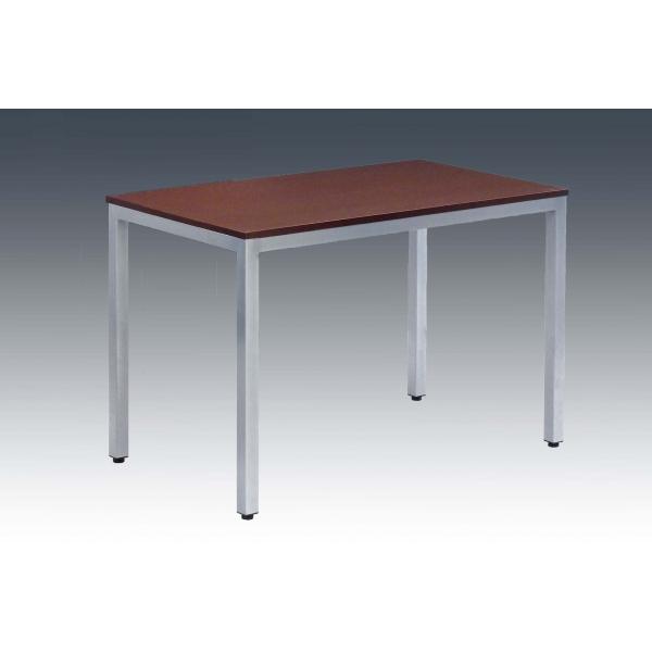 胡桃木色四人餐桌,美耐板面餐桌,木头餐桌--韦胜钢管